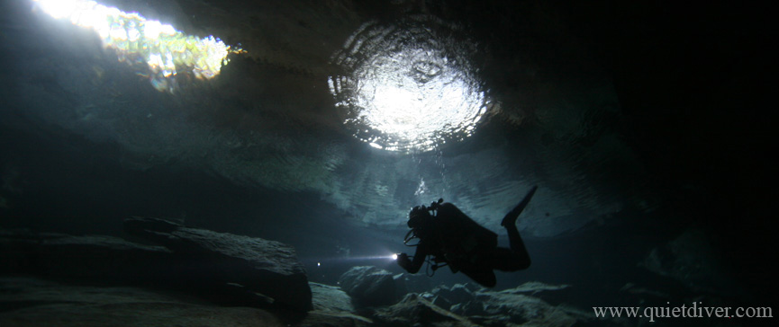 Caver Diver at Little Brother Cenote at Chac Mool Mexico