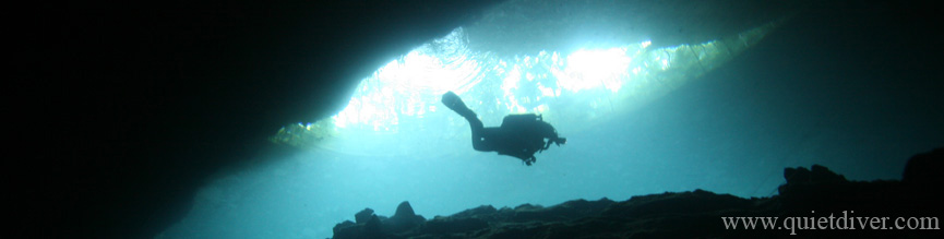 Rebreather Diver at Chac Mool Cavern, Mexico